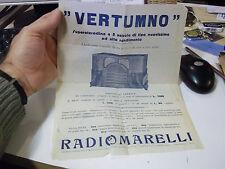 VOLANTINO PUBBLICITARIO VERTUMNO RADIOMARELLI 1934 SUPERETERODINA 5 VALVOLE 1-46