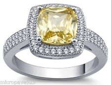 Awesome Canary Yellow Cushion Cubic Zirconia Solitaire Pave Set Ring Size 7.5
