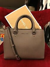 NWT MICHAEL KORS SAFFIANO LEATHER SAVANNAH MEDIUM SATCHEL BAG IN CINDER