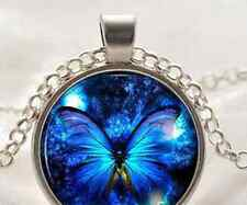 Vintage Butterfly Blue Cabochon Glass Chain Pendant Necklace USA Shipper