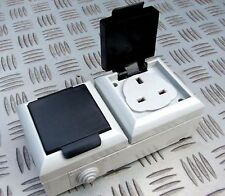 EXTERNAL OUTDOOR MAINS POWER TWIN SOCKET 13A 230V IP54 ideal for patio decking