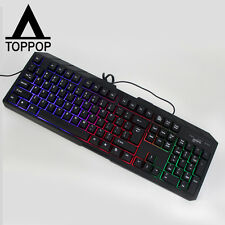 Slim LED Backlight Optical Work USB Wired Gaming Keypad Keyboard for Laptop PC