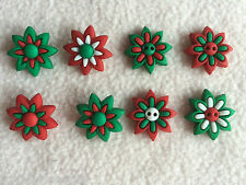 DRESS IT UP BUTTONS ~ HOLIDAY BLOOMS ~ CHRISTMAS FLOWERS ~ RED ~ GREEN ~ WHITE