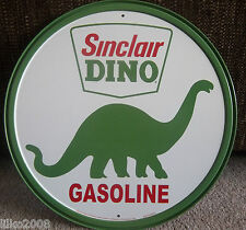 "SINCLAIR DINO GASOLINE/ DINOSAUR, ROUND 12"" METAL WALL SIGN/ PETROL, GAS, DINER"
