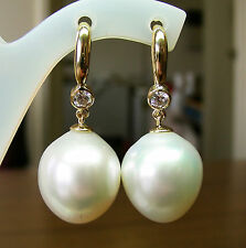 16.9mm!! SOUTH SEA PEARLS UNTREATED +DIAMONDS +18ct SOLID Y GOLD EARRINGS +CERT