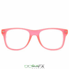 GloFX Ultimate Diffraction Glasses – GLOW In The Dark Pink Frame Rave Dance Wear