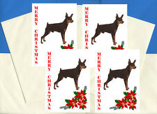 MIN PIN MINIATURE PINSCHER PACK OF 4 CARDS DOG PRINT GREETING CHRISTMAS CARDS