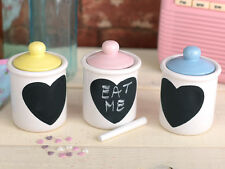 Set of 3 RETRO TREATS  Writeable Chalkboard Heart SMALL STORAGE JARS