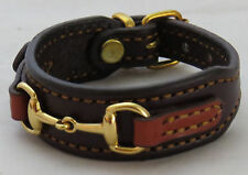 Bordeaux Chestnut Leather Brass Snaffle Horse Bit Equestrian Bracelet
