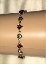 "4 CT HEART SHAPED GARNET 10K YELLOW GOLD LADIES TENNIS LINK  BRACELET  7"" Boxed"