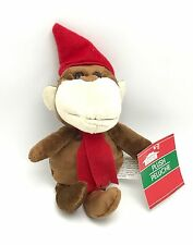 Monkey In Red Hat Scarf Stuffed Animal Toy Christmas House New