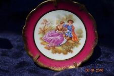 French Limoges Porcelain Miniature Plate Gold Gilded Edge France Mini & Stand