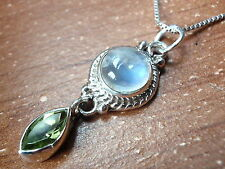 Faceted Peridot & Moonstone Necklace 925 Sterling Silver Rope Style Accents New