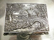 Silver Plated Idyllic Image Jewellery Box For Necklaces Vintage Antique Gift