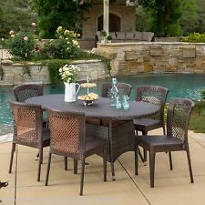 Outdoor Patio Furniture 7pc Multibrown All-Weather Wicker Round Dining Set