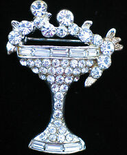 """NEW YEARS EVE WEDDING PARTY CELEBRATION CHALLIS CHAMPAGNE GLASS PIN BROOCH 2""""LRG"""