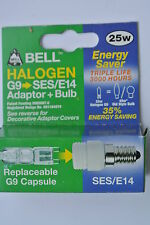 Bell 05311 SES/E14 to G9 Fitting Adaptor Convertor with 25w 3000hr capsule bulb