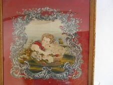 ANTIQUE PETIT POINT NEEDLEWORK PICTURE GIRL WITH RABBITS 900 STITCHES SQ INCH