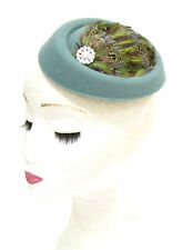 Sage Green Brown Pheasant Feather Pillbox Hat Fascinator 1940s Hair Vintage 1368
