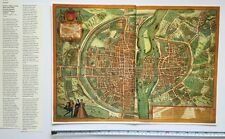 Carte en couleurs de Paris, France: 1572 par Braun & hogenberg réimpression 1500's