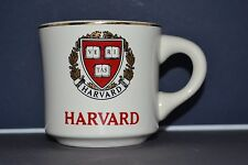 VINTAGE HARVARD UNIVERSITY COFFEE CUP MUG WITH IVY LEAGUE CREST GOLD TRIM