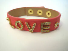 Valentines Day Juicy Couture LOVE Pink Gold Gem Leather BRACELET
