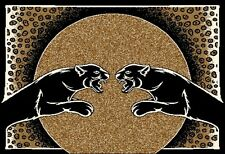 "Twin Black Panther Area Rug 4x6 Jaguar Leopard Carpet - Actual 3' 7"" x 5' 3"""