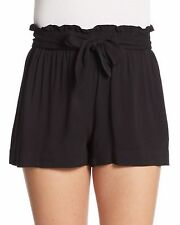 BCBGeneration Women's Black Waist-Tie Solid Casual Shorts Sz S