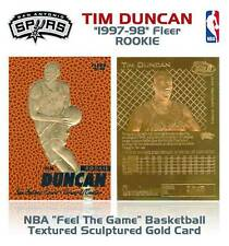 TIM DUNCAN 1997-98 Fleer FEEL THE GAME 23KT Gold Card Rookie Basketball Textured
