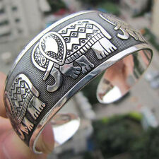 Fashion Elephant Tibetan Tibet Silver Totem Bangle Cuff Bracelet Jewelry Gift