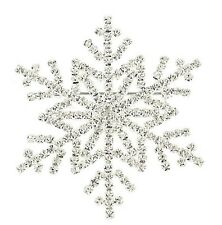 CHRISTMAS WINTER WONDERLAND SNOWFLAKE WHITE RHINESTONE LARGE BROOCH