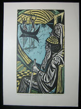 1970s Original Irving Amen Woodcut Gilgamesh the Land of the Blessed Trial Proof