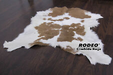Classic Brown and White Cowhide Calf Skin Animal Throw size Approx 3X3ft