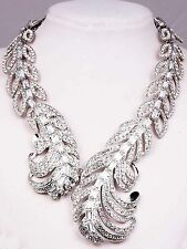 Silver pentand Crystal Bib Statement charm chunky colorful collar Necklace 957