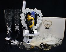 Y Homer Marge Simpsons wedding Cake topper LOT Glasses server set guest book pen