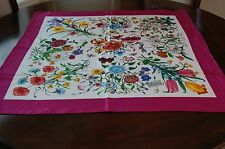 New Gucci Authentic Women's Floral White Pink Multicolor Silk Scarf