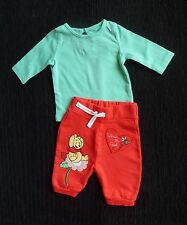 Baby clothes GIRL newborn 0-1m outfit red/aqua Disney Pooh Bear trousers/LS top