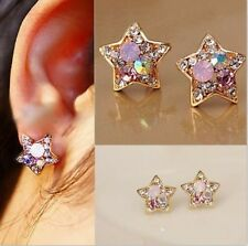 1 Pair New Fashion Women Lady Cute Star Crystal Rhinestone Ear Stud Earrings