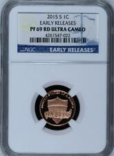 2015-S LINCOLN PROOF CENT 1c BLUE EARLY RELEASES NGC PF69 ULTRA CAMEO