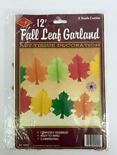 Beistle 12ft Fall Leaf Garland Decorations 3D Autumn Leaves Art Tissue 1989 NOS