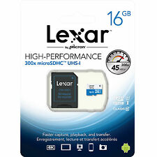 Lexar 16GB Micro SD SDHC MicroSD Class 10 16G 16 GB High-Performance 300x 45MB/s