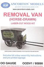 Ancorton 95890 Horse Drawn Removal Van 00 Gauge Wooden Model Kit -1st Class Post