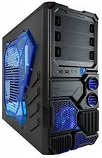 Cooling Light Mid Tower Case Full Micro ATX Chassis blu Gaming Computer Gamer PC