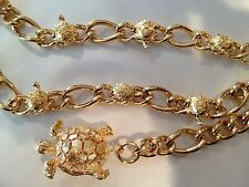 Stunning Beautiful TURTLE GOLD CHAIN Link GLAMOUR VINTAGE BELT High quality RARE