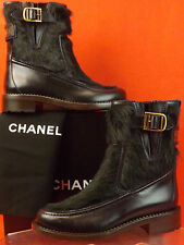 NIB CHANEL NAVY BLUE LEATHER REAL FUR PLATED BELTED BUCKLE BOOTS 37.5 7 $2K