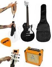 Orange Guitar Pack - Black Guitar, CR12L Amplifier, Strap, Picks, Tuner, +Cable