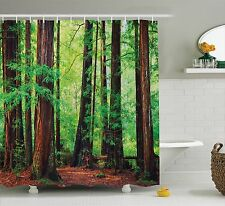 Shower Curtain Forest Redwood Trees Scenery Wild Nature 70 Inches Long