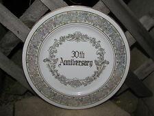 30TH ANNIVERSARY WEDDING CERAMIC PORCELAIN PLATE VTG JAPAN FLORAL IRIDESCENT