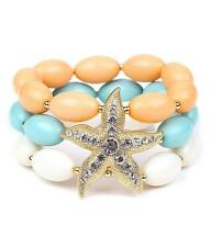 3 Strand Multi Color Lucite Bead Gold Tone Starfish Stretch Bracelet