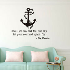 Sailing Anchor Vinyl Wall Sticker Smell The Sea Quote Home Living Room Decal